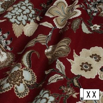 Декоративная ткань с цветами Элис бордовый