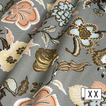 Декоративная ткань с цветами Элис серый