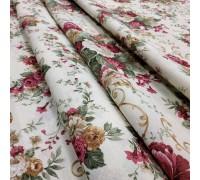 Ткань Андреа Букет цветов бордовый 280 см