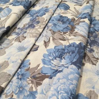 Ткань Датура крупные цветы голубой 217461