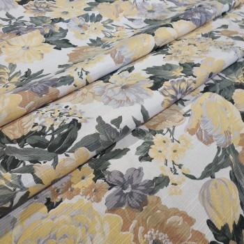 Ткань Датура крупные цветы желтый 437461