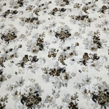 Ткань Элиана Букет розы серый 280 см
