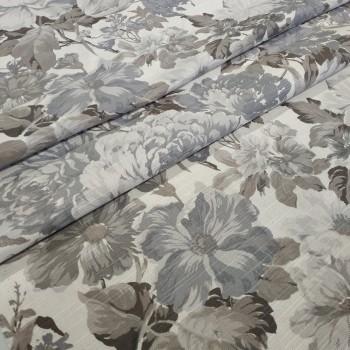 Ткань Датура крупные цветы серый 517461