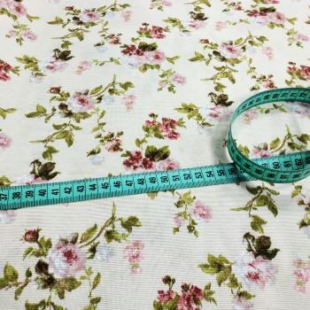 Ткань Флорал мелкие розы молочный 671161