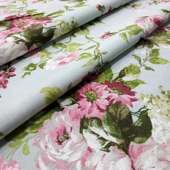 Ткань Флорал крупные розы лазурный 771161