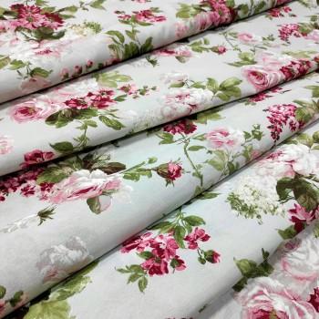 Ткань Элиана Букет розы крупные лазурный