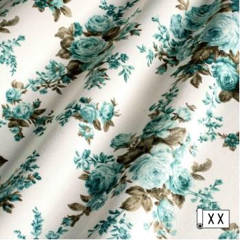 Ткань Сельви крупные розы голубой 09-02121