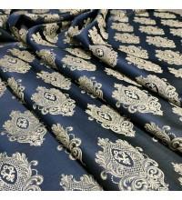 Ткань жаккард вензель синий