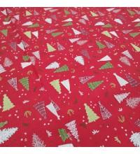 Новогодняя ткань Ёлки красный
