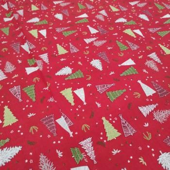 Новогодняя ткань Ёлки красный 113161