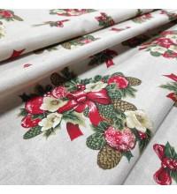 Новогодняя ткань Рождественский букет натуральный