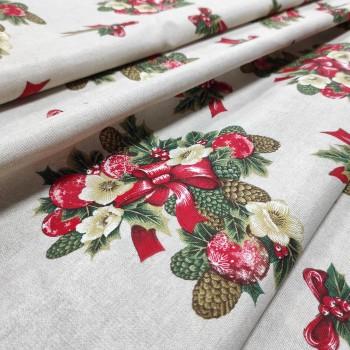 Новогодняя ткань Рождественский букет натуральный 466351