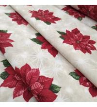 Новогодняя ткань Рождественская звезда красный