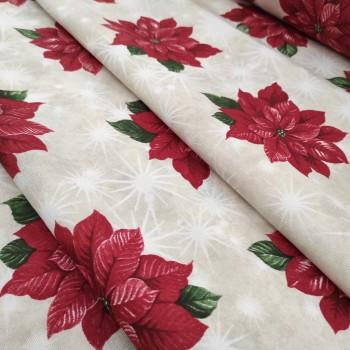 Новогодняя ткань Рождественская звезда красный 613161