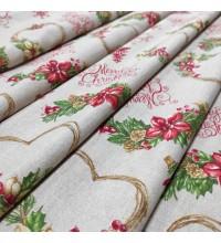 Новогодняя ткань Merry натуральный