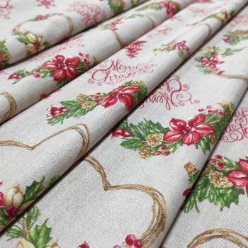 Новогодняя ткань Merry натуральный 666351