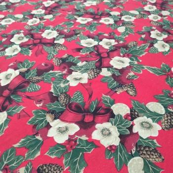 Новогодняя ткань Рождественский букет бордовый 866351
