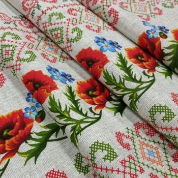 Скатертная ткань рогожка Орнамент маки 014331