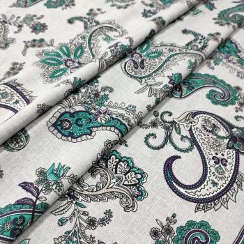Скатертная ткань рогожка Пэйсли зелений 073061
