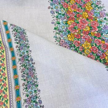 Скатертная ткань рогожка Цветочные узоры 168651