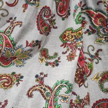 Скатертная ткань рогожка Пэйсли мультиколор 173061