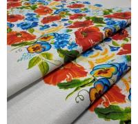 Скатертная ткань рогожка Маковое поле