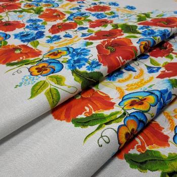 Скатертная ткань рогожка Маковое поле 271461