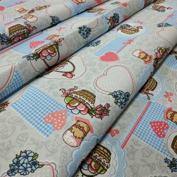 Скатертная ткань рогожка Пасхальная корзина 329751