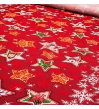 Новогодняя ткань для скатерти Звезды