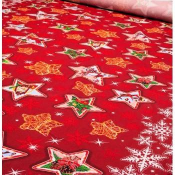 Новогодняя ткань для скатерти Звезды 350311