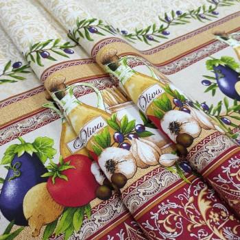 Скатертная ткань рогожка Олива 363061