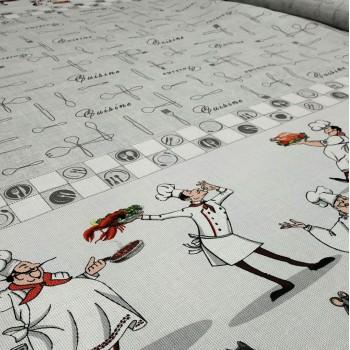 Скатертная ткань рогожка Поваренок серый 398161
