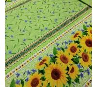 Скатертная ткань рогожка Подсолнухи зеленый
