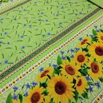 Скатертная ткань рогожка Подсолнухи зеленый 432731