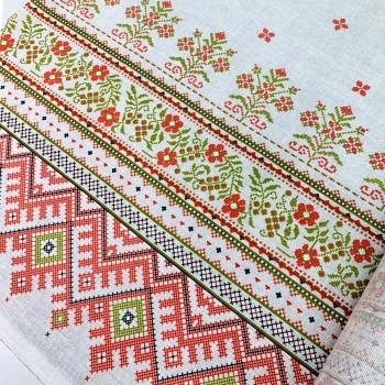 Скатертная ткань рогожка Цветочный орнамент 586651