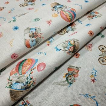 Скатертная ткань рогожка Пасхальный кролик 629751