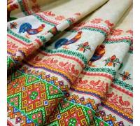 Скатертная ткань рогожка Петушки песок