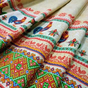 Скатертная ткань рогожка Петушки песок 686831