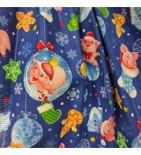 Новогодняя ткань для скатерти Копилки синий