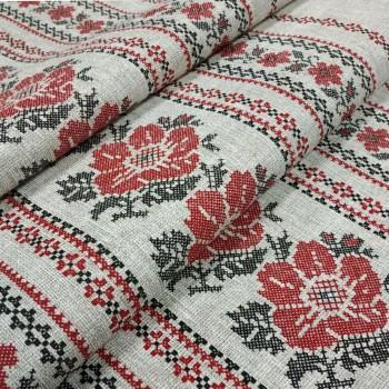 Скатертная ткань рогожка Орнамент натуральный 722731