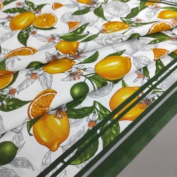 Скатертная ткань рогожка Лимоны 758271