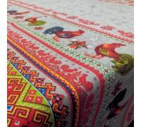 Скатертная ткань рогожка Петушки серый