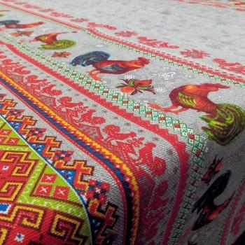 Скатертная ткань рогожка Петушки серый 768831