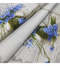 Скатертная ткань рогожка Букет цветов