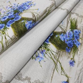 Скатертная ткань рогожка Букет цветов 833071