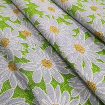 Скатертная ткань рогожка Ромашки зеленый 833561