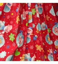 Новогодняя ткань для скатерти Копилки красный