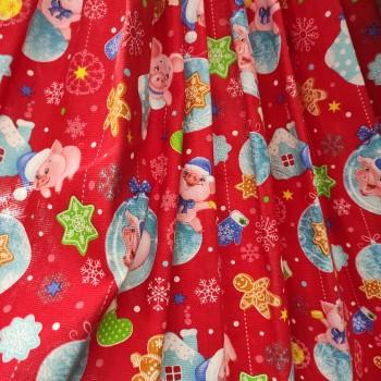 Новогодняя ткань для скатерти Копилки красный 888551