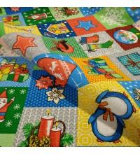 Новогодняя ткань для скатерти Мозаика