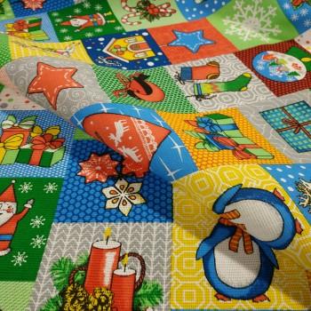 Новогодняя ткань для скатерти Мозаика 898161